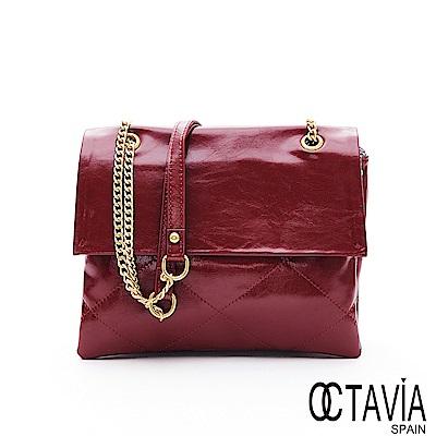 OCTAVIA8 真皮 - 小蘋果 菱格油皮時尚書型鍊條包 - 醉嫣紅