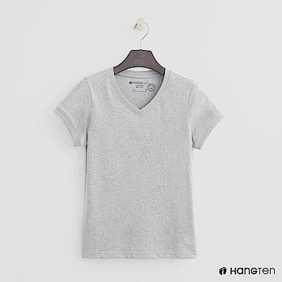 Hang Ten - 女裝 - 有機棉-小V領純色T恤 - 灰