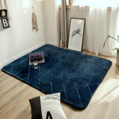 BUNNY LIFE 簡約壓紋法蘭絨地毯-押花深藍(120x190cm)