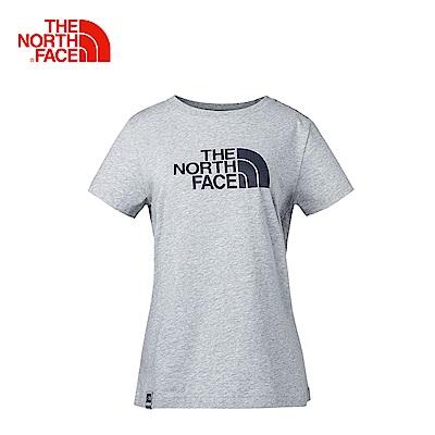 The North Face北面女款淺灰色柔軟吸汗休閒短袖T恤|3CJ2DYX