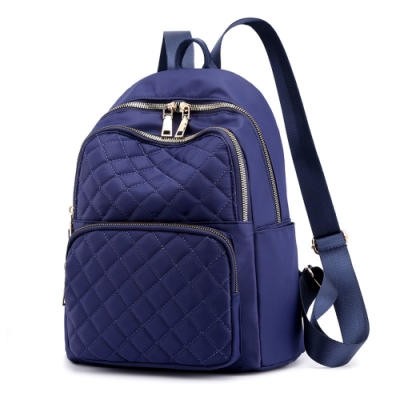 I.Dear-韓版時尚立體菱格紋雙肩拉鍊肩背後背包BG124(藍色)