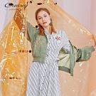 OUWEY歐薇 典雅微光澤刺繡棒球外套(綠/粉)