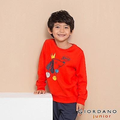 GIORDANO 童裝童趣印花長袖T恤-21 火烈鳥紅