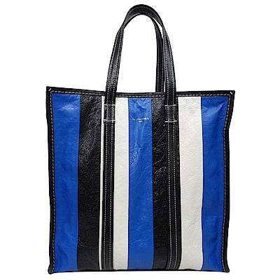 BALENCIAGA BAZAR SHOPPER 牛皮藍白黑直式購物包
