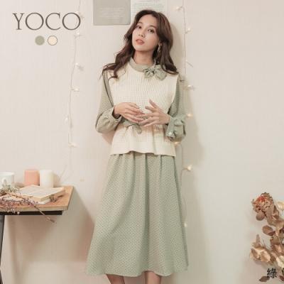 東京著衣-YOCO 氣質女王水玉點點針織背心附腰帶洋裝