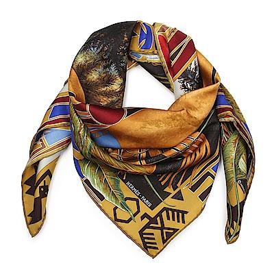 HERMES 叢林人生 圖騰真絲披肩方型絲巾-咖啡色