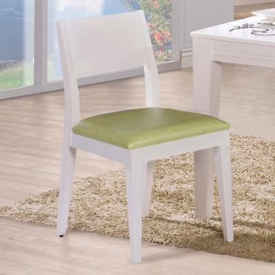 H&D 喬伊白色綠亞麻紋皮餐椅
