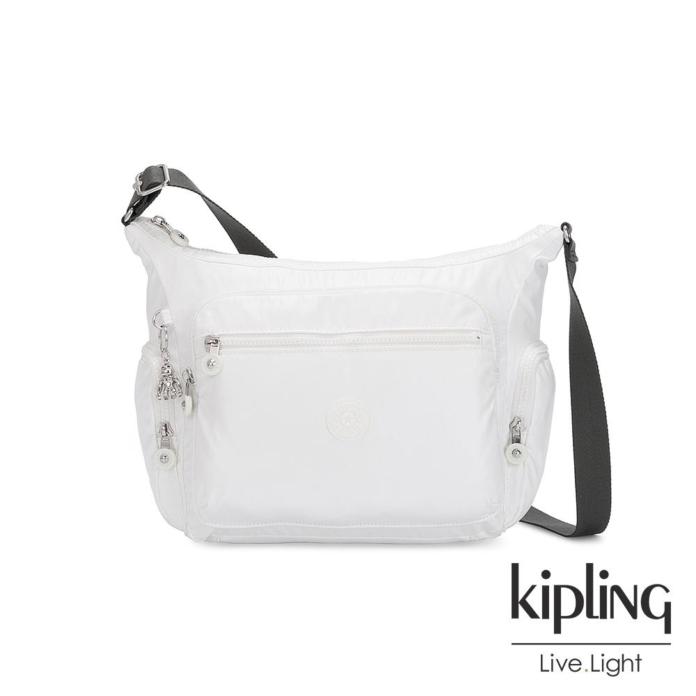 Kipling 時尚極簡白多袋實用側背包-GABBIE