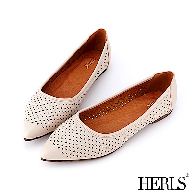 HERLS 氣質甜美 內真皮花窗沖孔尖頭平底鞋-米色