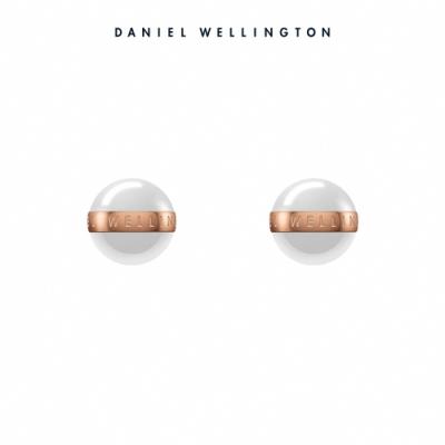【Daniel Wellington】官方直營 Aspiration Earrings 純淨優雅耳環-玫瑰金x白 DW耳環