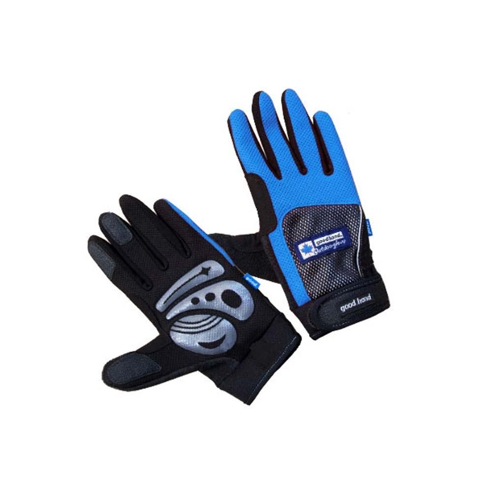 GOODHAND 台灣加油 長指手套-腳踏車 摩托車 防風手套 藍色