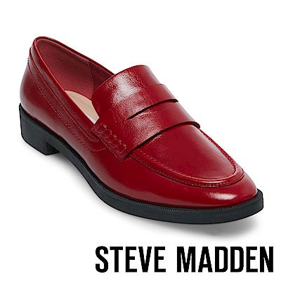 STEVE MADDEN-WARP 經典真皮樂福鞋-紅色
