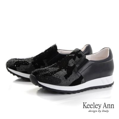 Keeley Ann我的日常生活 迷彩異材拼接休閒鞋(黑色-Ann系列)