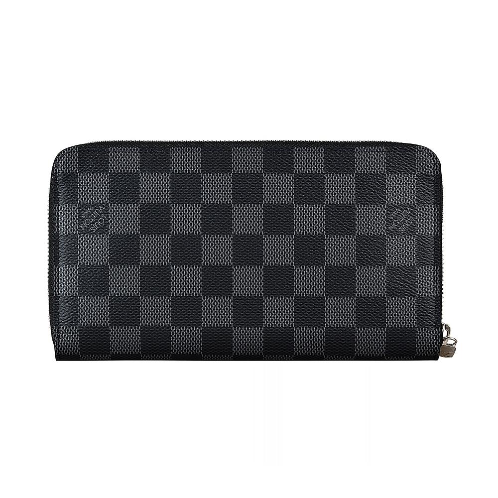 LV N60111 棋盤格LOGO Damier Graphite 帆布16卡拉鍊長夾(黑)
