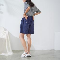 慢 生活 鬆緊腰百搭文藝寬鬆短褲- 深藍