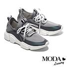 休閒鞋 MODA Luxury 經典百搭拼接綁帶厚底休閒鞋-灰