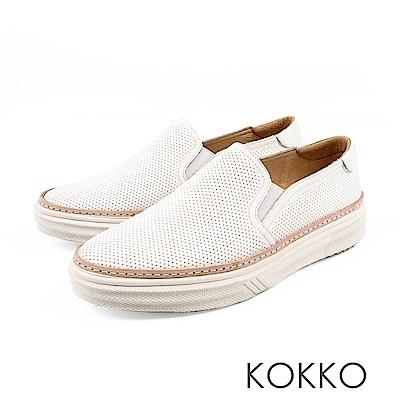KOKKO -未知之境真皮厚底懶人鞋-純淨白