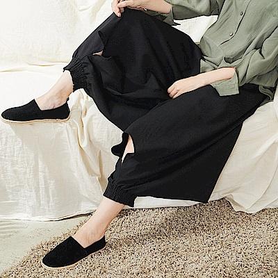 慢生活鬆緊縮腳修飾功夫褲黑色