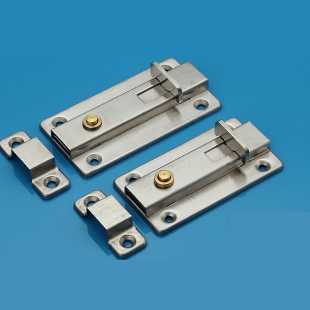 HE002 不銹鋼浴廁鎖 4寸 白鐵製 自動方型栓/平閂/門閂