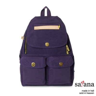satana - 多功能拉鍊後背包 - 紫色