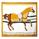 Hermes Rocabar 馬匹印花喀什米爾羊絨披肩/方巾(米黃)