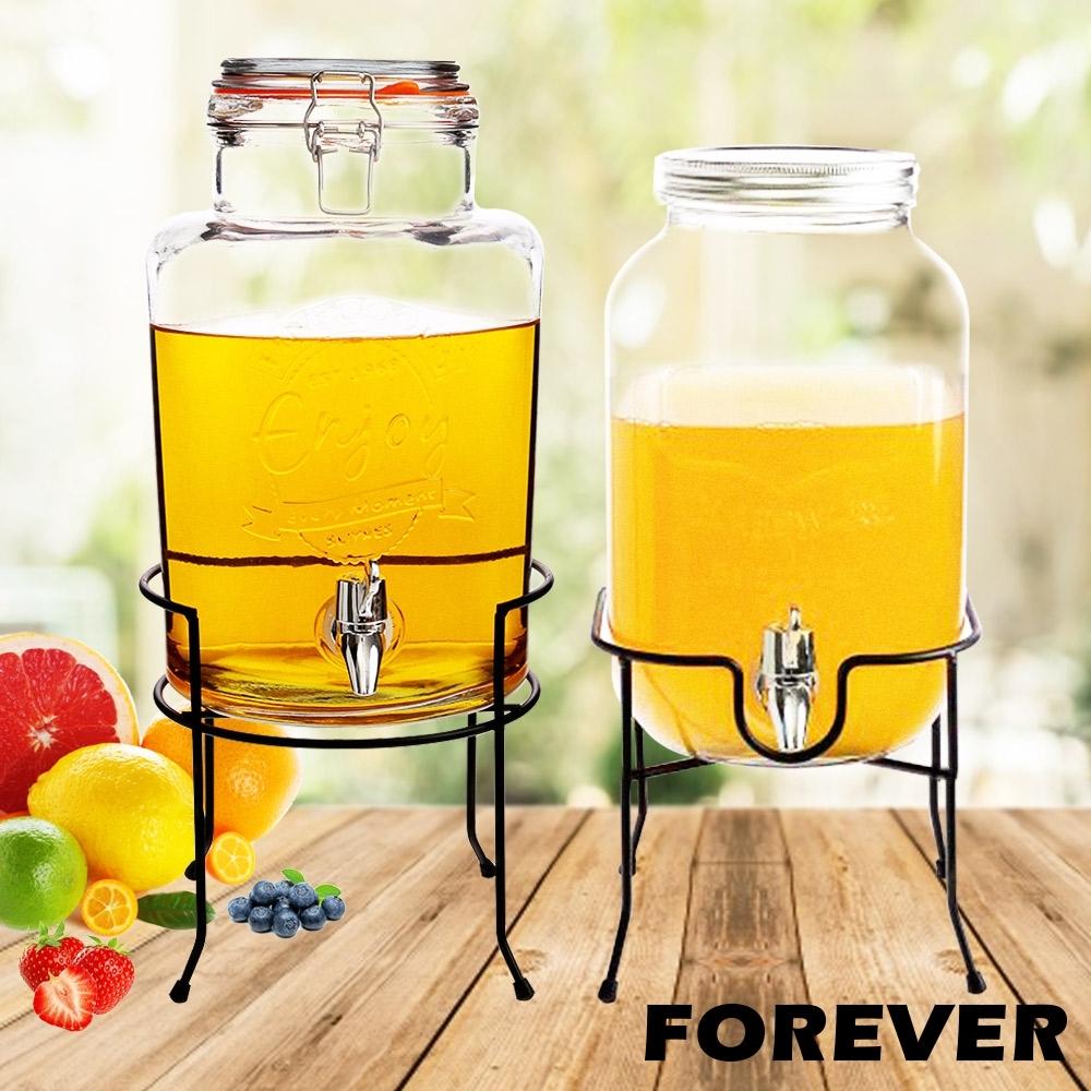 日本FOREVER 夏天必備派對玻璃果汁飲料桶(含桶架)5L+4L