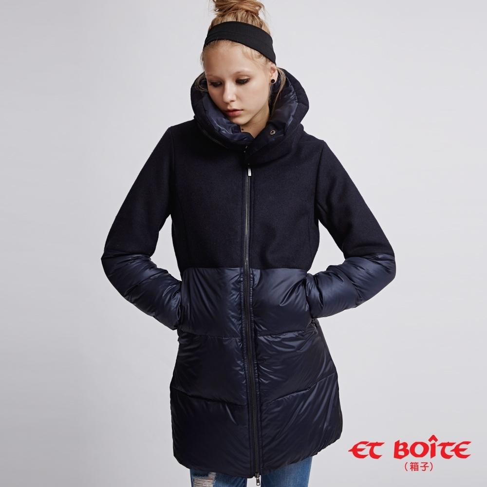 [時時樂限定] 箱子 BLUE WAY 高質感羊毛拼接可拆領長版羽絨大衣