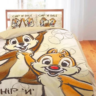享夢城堡 單人床包雙人涼被三件組-迪士尼奇奇蒂蒂 小松果-棕