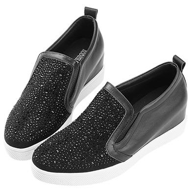 Robinlo & Co.經典閃鑽牛皮內增高休閒鞋 黑
