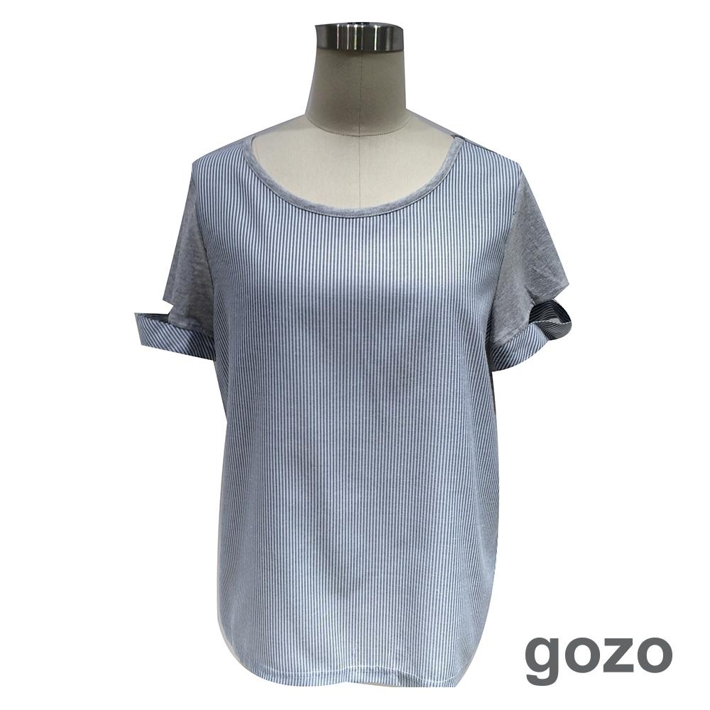 gozo 條紋拼接造型切口袖上衣(二色)