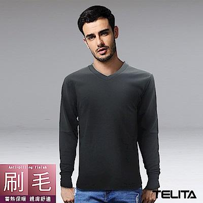 型男刷毛蓄熱保暖長袖V領休閒T-黑TELITA