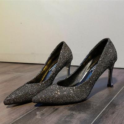 KEITH-WILL時尚鞋館 明星款美感流線水鑽細跟鞋-銀