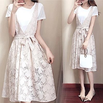 中大尺碼白色斜領上衣大V綁帶葉子蕾絲鏤空洋裝XL~4XL-Ballet Dolly
