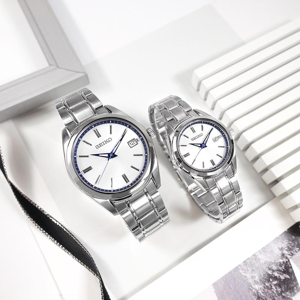 SEIKO 精工 限量款 140週年 簡約時尚 日期 不鏽鋼手錶 情人對錶-銀白色/40mm+30mm