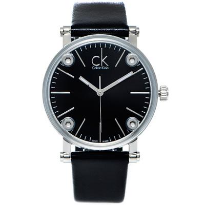 CK Calvin Klein 鏡面加厚款皮革手錶(K3B231C1)-黑面/36mm