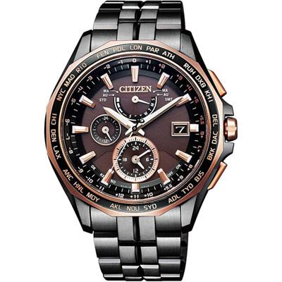 CITIZEN Eco-Drive 航空地堡時尚電波腕錶-AT9096-73E-42mm