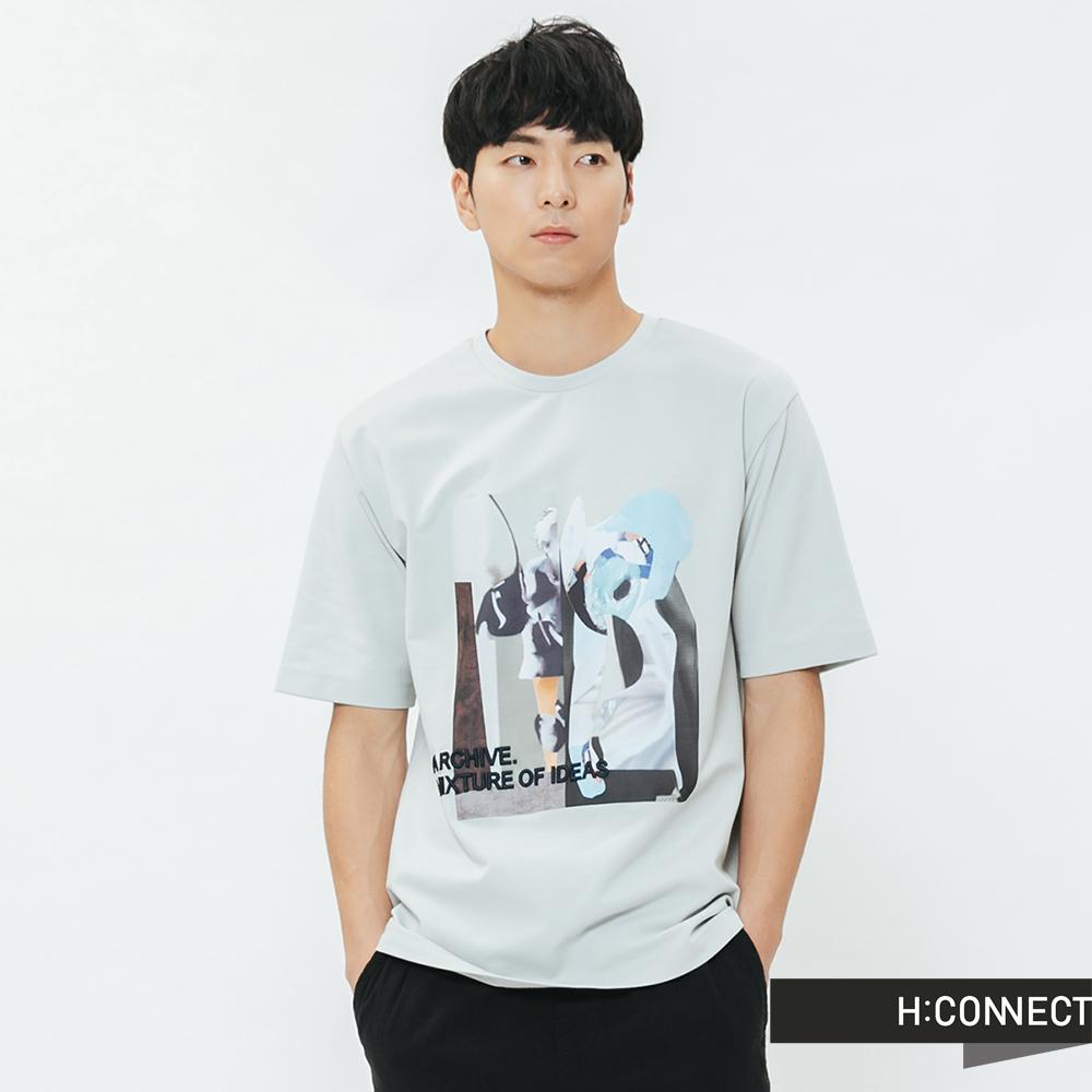 H:CONNECT 韓國品牌 男裝-彩色圖印繡字T-shirt-藍