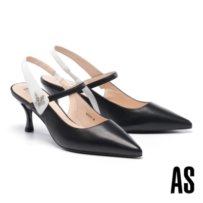 高跟鞋 AS 晶鑽星星撞色全羊皮後繫帶尖頭高跟鞋-黑