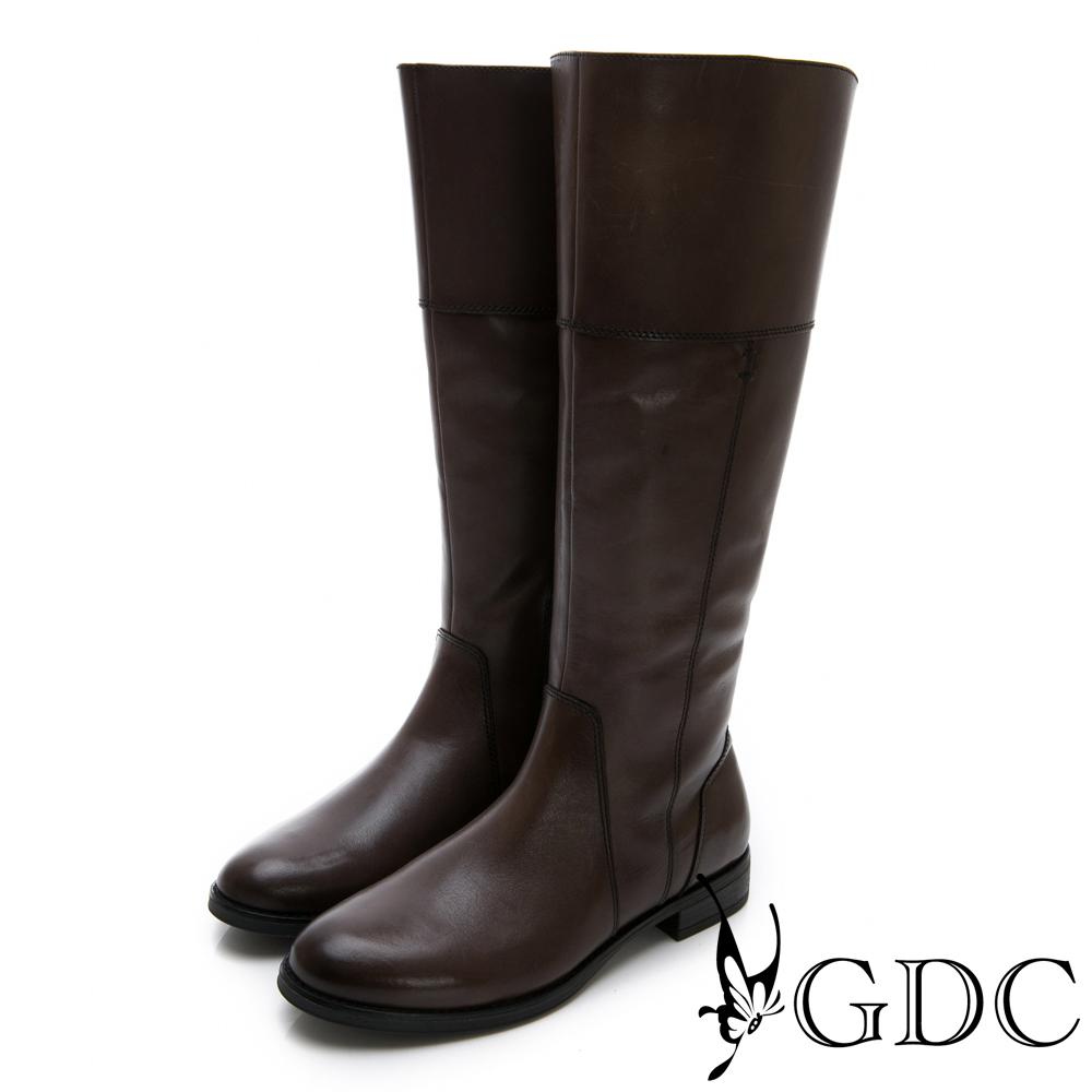 GDC-真皮美西率性設計感秋冬長靴-咖色