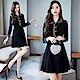DABI 韓國風休閒線條領釦大碼寬鬆顯瘦長袖洋裝