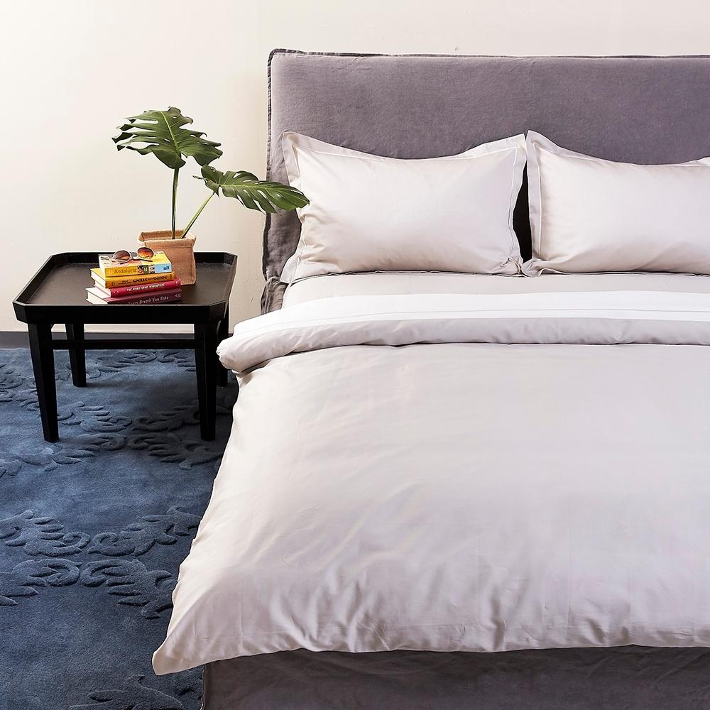 寬庭 環遊世界-加大四件式被套床包組+積雲加大冬被 (香檳灰+天使白)