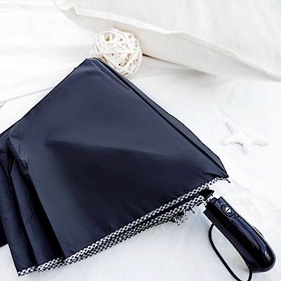 好傘王 自動傘系-英式格紋大大傘(黑色)
