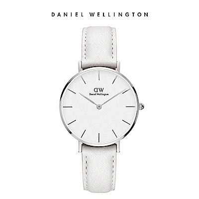 DW 手錶 官方旗艦店 32mm銀框 Petite 純真白真皮皮革錶
