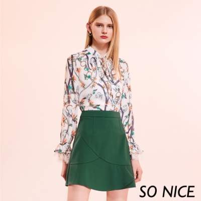 SO NICE時尚荷葉羅馬布短裙