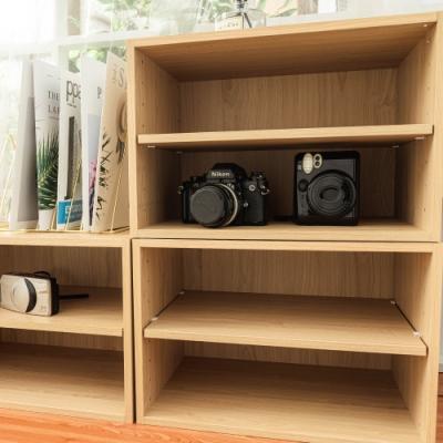 樂嫚妮 DIY 日式 二層收納櫃/空櫃/書櫃-層板可抽-楓木色2入組-42X28.2X28.8cm