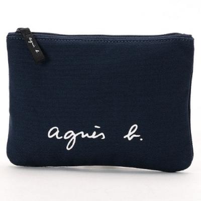 agnes b. Voyage 小型草寫LOGO帆布隨身小包 (深藍)