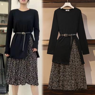 【韓國K.W.】(預購)時尚碎花附腰帶兩件式套裝裙-2色