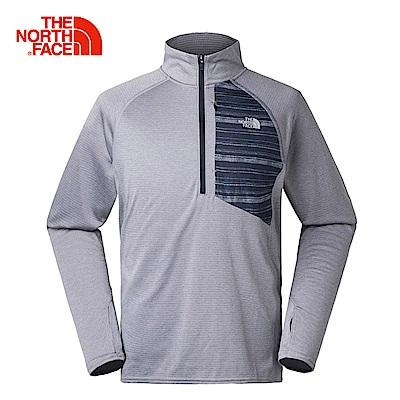 The North Face北面男款灰色吸濕速乾抓絨長袖上衣|3F4QX8A