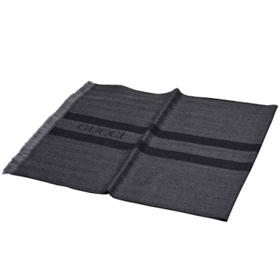 GUCCI 經典品牌LOGO波紋線條羊毛流蘇圍巾(灰色)