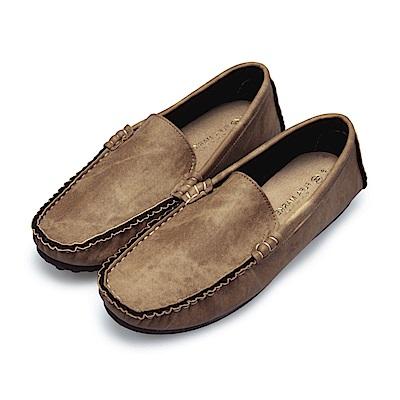 BuyGlasses 渲染手縫雅痞懶人鞋豆豆鞋-棕